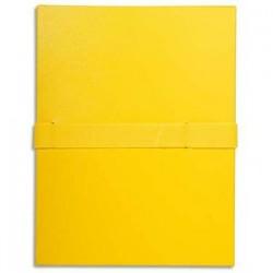 EXACOMPTA Chemise extensible en balacron. Rabat en pied, fermeture par sangle velcro. Coloris jaune
