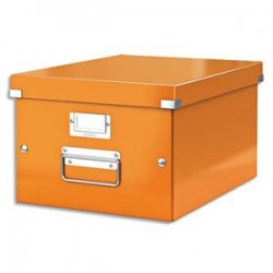 LEITZ Boîte CLICK&STORE M-Box. Format A4 - Dimensions : L281xH200xP369mm. Coloris orange Wow.
