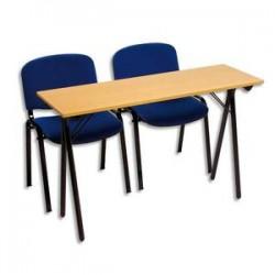 SODEMATUB Table formation séminaire hêtre pietement noir 4 places 200x40cm