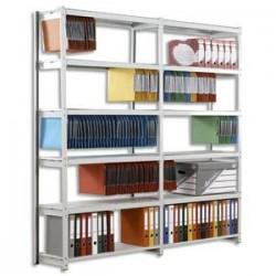 PAPERFLOW Rayonnage Rang'Eco élément Suivant en acier, 5 tablettes pour DS ou archivage. L100xH195xP37 cm