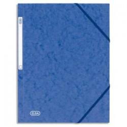 ELBA Chemise 3 rabats et élastique Eurofolio en carte lustrée 5/10e bleu