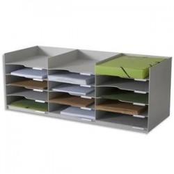 PAPERFLOW Bloc classeur 3 x 5 cases gris pour doc A4 Capacité 500 feuilles - Dim. L85,7 x H32,3 x P33 cm