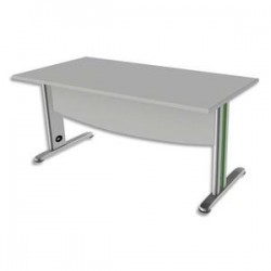 SIMMOB Bureau rectangle avec VDF Scenario tonique - Dim L140 x H72 x P80 cm coloris Blanc perle Vert anis