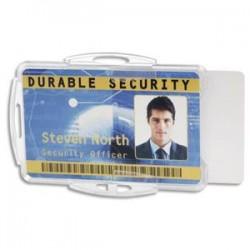 DURABLE Boîte 10 Porte-carte ouvert pour 2 cartes, perfo ss attache - L8,5 x H 5,4 cm transparent