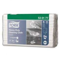 TORK Carton de 60 Chiffons de nettoyage ultra-résistant pliés - Format : L64,2 x H38,5 cm coloris blanc