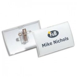 DURABLE Boite de 25 badges combi Epingle et pince Clickfold 5,4X9 cm