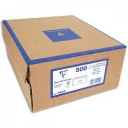 CLAIREFONTAINE Boîte de 500 enveloppes PEFC DL 110x220mm fen 45x100mm vélin blanc 80g auto-adhésive 10925