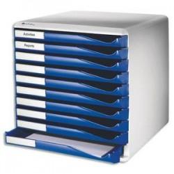 LEITZ Bloc de classement 10 tiroirs - Structure grise/Tiroirs bleus - L28,7 x H29 x P35,5cm