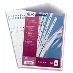 ELBA Sachet de 10 pochettes perforées SM3 en PVC 10/100. Format A4, 9 trous.