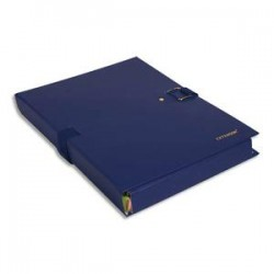 EXACOMPTA Chemise extensible Extensor, grand rabat en pied, balacolor bleu finition imitation cuir