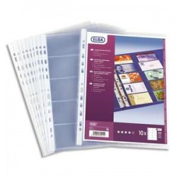 ELBA Sachet de 10 pochettes perforées pour cartes de visite, en PVC 10/100. Format A4. 10+10 cartes.