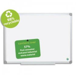 BI-OFFICE Tableau blanc émaillé recyclable cadre alu 60x90 cm