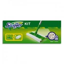 SWIFFER Balai manche L130 cm, base L25 x P13 cm + lingettes