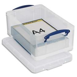 RUB Boîte de rangement 9 Litres + couvercle - Dimensions : L39,5 x H15,5 x P25,5 cm coloris transparent