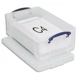 RUB Boîte de rangement 12 Litres + couvercle - Dimensions : L46,5 x H15 x P27 cm coloris transparent