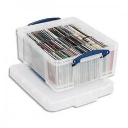 RUB Boîte de rangement 18 Litres + couvercle - Dimensions : L48 x H20 x P39 cm coloris transparent