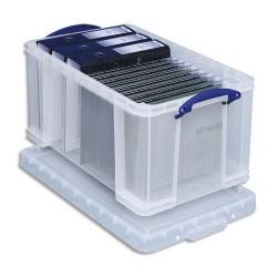 RUB Boîte de rangement 48 Litres + couvercle - Dimensions : L60 x H31 x P40 cm coloris transparent