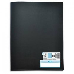 ELBA Protège documents MEMPHIS en polypropylène. 50 pochettes fixes A4 en PP 6/100. Coloris noir