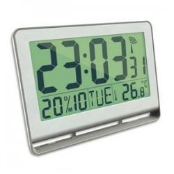 ALBA Horloge murale LCD multifonction radio-pilotée livrée 2 piles AAA fournies en ABS L20 x H15 cm blanc