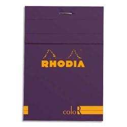 """RHODIA Bloc """"coloR"""" agrafé en-tête 8,5x12 (n°12) 140 pages lignées. Couverture rembordée violet"""