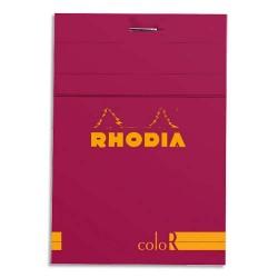 """RHODIA Bloc """"coloR"""" agrafé en-tête 8,5x12 (n°12) 140 pages lignées. Couverture rembordée framboise"""