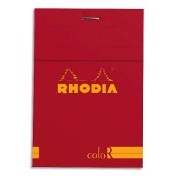 """RHODIA Bloc """"coloR"""" agrafé en-tête 8,5x12 (n°12) 140 pages lignées. Couverture rembordée coquelicot"""