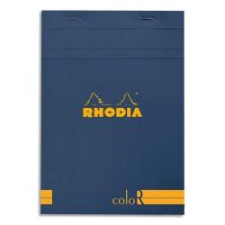 """RHODIA Bloc """"coloR"""" agrafé en-tête 14,8x21 (n°16) 140 pages lignées. Couverture rembordée saphir"""