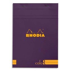 """RHODIA Bloc """"coloR"""" agrafé en-tête 14,8x21 (n°16) 140 pages lignées. Couverture rembordée violet"""