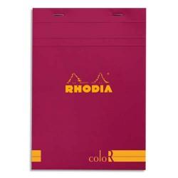 """RHODIA Bloc """"coloR"""" agrafé en-tête 14,8x21 (n°16) 140 pages lignées. Couverture rembordée framboise"""