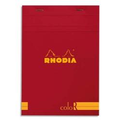 """RHODIA Bloc """"coloR"""" agrafé en-tête 14,8x21 (n°16) 140 pages lignées. Couverture rembordée coquelicot"""