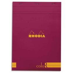 """RHODIA Bloc """"coloR"""" agrafé en-tête 21x29,7 (n°18) 140 pages lignées. Couverture rembordée framboise"""
