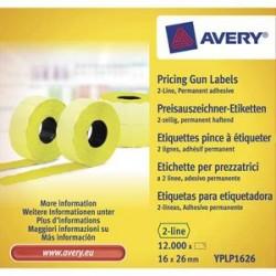 AVERY Boite de 10 rouleaux de 1200 étiquettes jaunes sinusoïdales permanentes 26x16mm YPLP1626