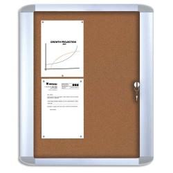 BI-OFFICE Vitrine d'intérieur Mastervision porte verre trempé fond liège punaisable 9 feuilles A4