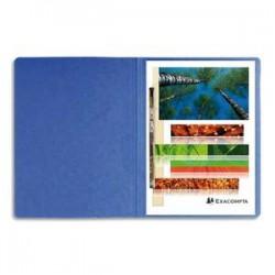 EXACOMPTA Chemise à lamelles et compresseur , capacité 350 feuilles perforées, carte lustrée coloris bleu