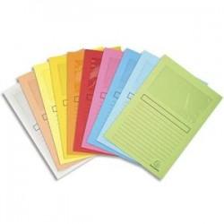 EXACOMPTA Paquet de 10 pochettes coins SUPER en carte 160g avec fenêtre, coloris assortis 10 couleurs