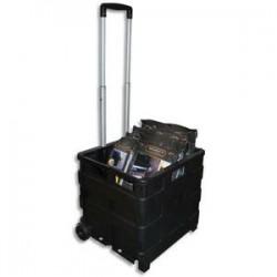 VISO Casier Trolley pliable en polypropylène - Dimensions ouvert L42 x H38 x P40 cm noir