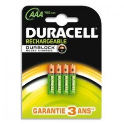 DURACELL Blister de 4 accus rechargeables 1,2V AAA HR3 750mAh 05000394045019