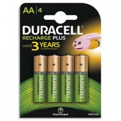 DURACELL Blister de 4 accus rechargeables 1,2V AA HR6 1300mAh 05000394044982