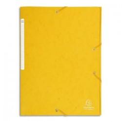 EXACOMPTA Chemise 3 rabats et élastique monobloc , carte lustrée 5/10e jaune, élastique fixé devant