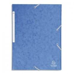 EXACOMPTA Chemise 3 rabats et élastique monobloc , carte lustrée 5/10e bleu, élastique fixé devant