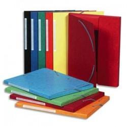 EXACOMPTA Chemise 3 rabats et élastique monobloc , carte lustrée 5/10e assortis, élastique fixé devant