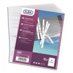 ELBA Sachet de 10 pochettes perforées en polypro lisse 9/100. Format A3 paysage ou A3 plié (A4), 11 trous