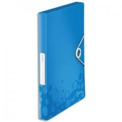 LEITZ Boîte de classement WOW en polypropylène. Dos de 30mm. Fermeture par élastique. Coloris bleu.
