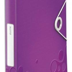 LEITZ Boîte de classement WOW en polypropylène. Dos de 30mm. Fermeture par élastique. Coloris violet.
