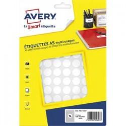 AVERY Sachet de 1536 pastilles Ø15 mm. Imprimables. Coloris blanc.