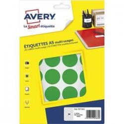 AVERY Sachet de 240 pastilles Ø30 mm. Imprimables. Coloris vert.