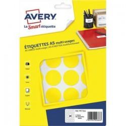 AVERY Sachet de 240 pastilles Ø30 mm. Imprimables. Coloris jaune.