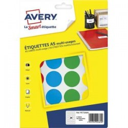 AVERY Sachet de 168 pastilles Ø30 mm. Imprimables. Coloris assortis.