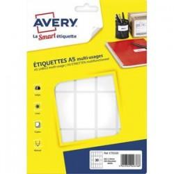 AVERY Sachet de 320 étiquettes multi-usage blanches 48,5 x 25 mm. Planche format A5. ETE020