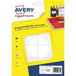 AVERY Sachet de 160 étiquettes multi-usage blanches 38,5 x 65 mm. Planche format A5. ETE010